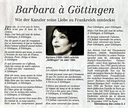 """Auf Seite 1 seiner Ausgabe vom 23. Januar 2003 zitierte das Hamburger Abendblatt die Festansprache von Bundeskanzler Gerhard Schröder anlässlich des 40. Jahrestages des deutsch-französischen Freundschaftsvertrags und seine Erinnerungen an """"Göttingen"""", die Chanson von Barbara."""