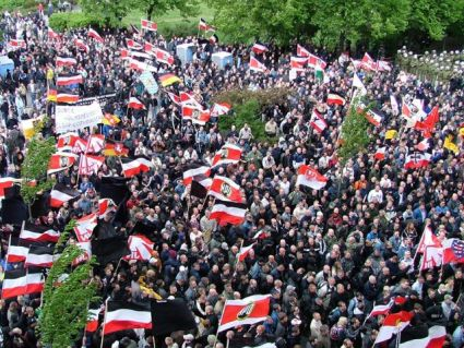 Supporters of the NPD, during a march in Berlin, 2005.