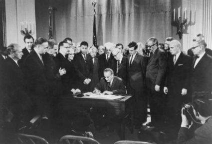 President Lyndon Baines Johnson signing Civil Rights Bill, April 11, 1968