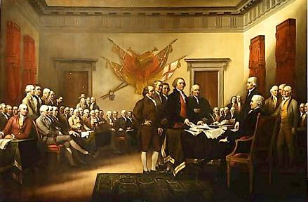 John Trumbull's Declaration of Independence, showing the five-man committee in charge of drafting the Declaration in 1776 as it presents its work to the Second Continental Congress in Philadelphia.