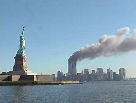 Twin towers of the World Trade Center burning on September 11, 2001