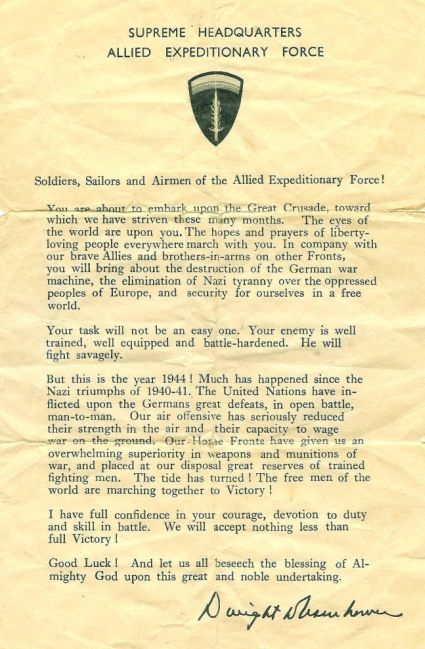 D-Day Message to the troops from Dwight D. Eisenhower