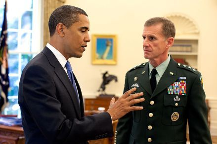 President Barack Obama meets with General Stanley A. McChrystal, in the Oval Office at the White House, May 19, 2009.
