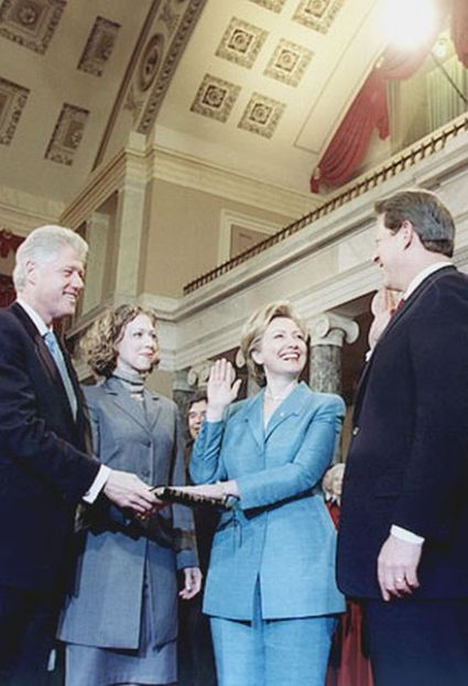 Reenactment of Vice President Al Gore swearing in First Lady Hillary Clinton as a United States Senator in the Old Senate Chamber at the Capitol on January 3, 2001. Her husband, President Bill Clinton, holds the Bible, as their daughter, Chelsea Clinton, observes.