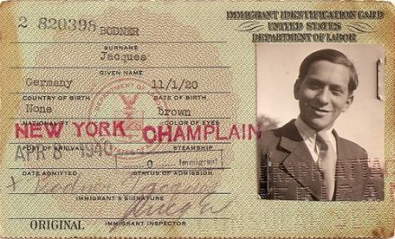 Jacques Bodner's visa issued by Hiram Bingham IV on Feb. 27, 1940