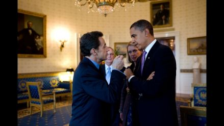 President Barack Obama and President Nicolas Sarkozy of France have a discussion in the Blue Room of the White House before their joint press availability, March 30, 2010. (Official White House Photo by Pete Souza)