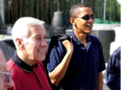 Senate Foreign Relations Committee Chairman Richard Lugar and Committee member Barack Obama at a base near Perm, Russia. This is where mobile launch missiles are being destroyed by the Nunn-Lugar program.