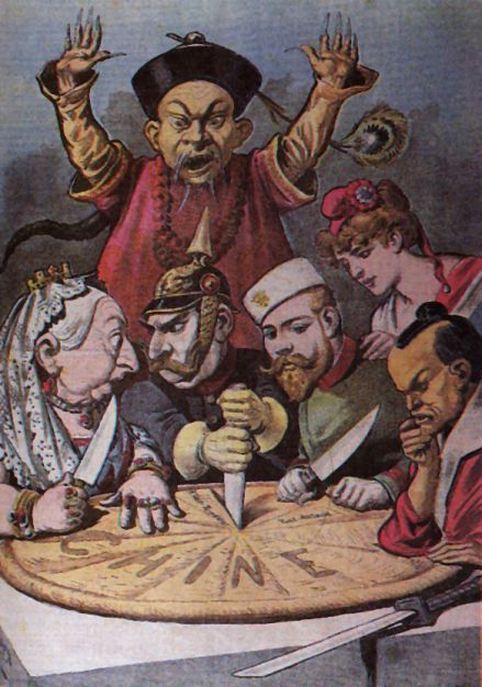"French political cartoon from the late 1890s. A pie represents ""Chine"" (French for China) and is being divided between caricatures of Queen Victoria of the United Kingdom, William II of Germany (who is squabbling with Queen Victoria over a borderland piece, whilst thrusting a knife into the pie to signify aggressive German intentions), Nicholas II of Russia, who is eyeing a particular piece, the French Marianne (who is diplomatically shown as not participating in the carving, and is depicted as close to Nicholas II, as a reminder of the Franco-Russian Alliance), and the Meiji Emperor of Japan, carefully contemplating which pieces to take. A stereotypical Qing official throws up his hands to try and stop them, but is powerless. It is meant to be a figurative representation of the Imperialist tendencies of these nations towards China during the decade."