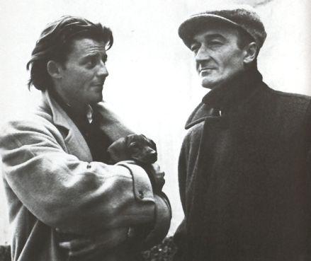 Gérard Philipe en compagnie de Jean Vilar, fondateur du Festival d'Avignon